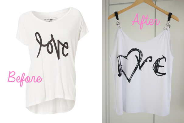 Diy From T Shirt To Tanktop With Leather Detail Fashionblog