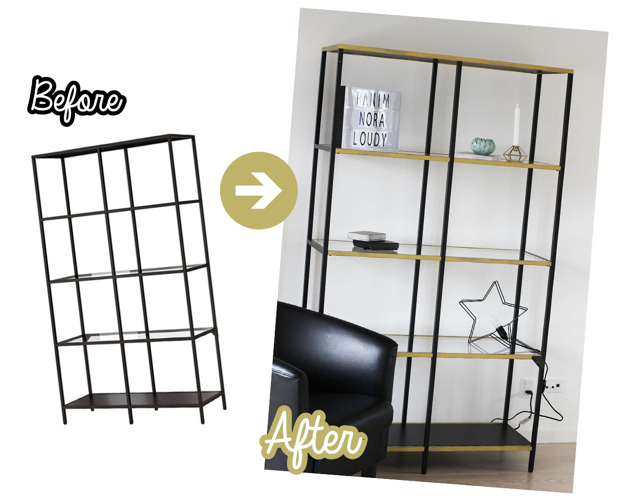 Ikea Vittsjö Regal hack Goldspray
