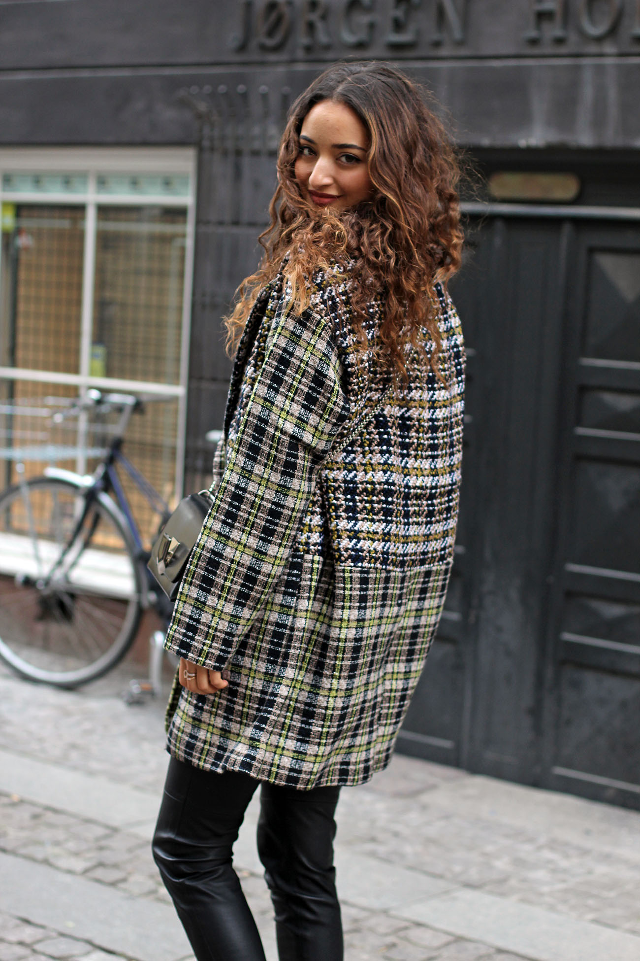 Checked Coat Blogger Style